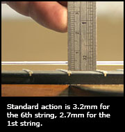 Standard action is 3.2mm for the 6th string, 2.7mm for the 1st string.