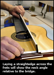 Laying a straightedge across the frets will show the neck angle relative to the bridge.
